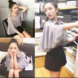 韓版兩件套組 雪紡顯瘦款