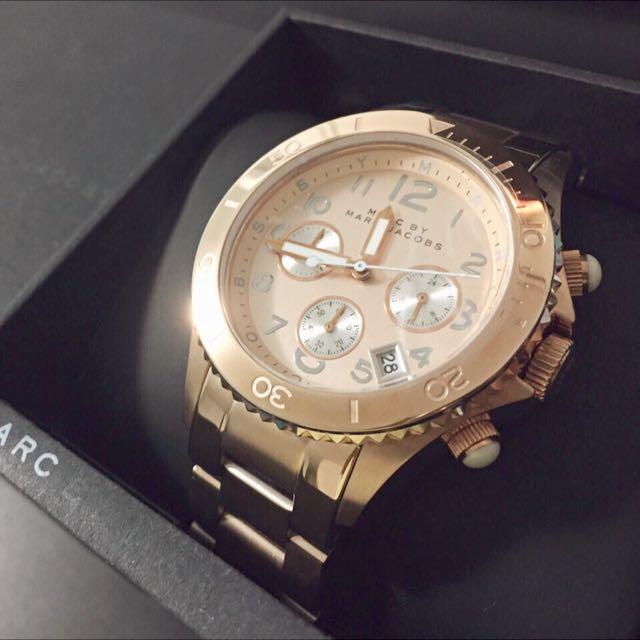 「9.5成新」MARC BY MARC JACOBS 玫瑰金 手錶 40MM 三眼 計時 碼錶 MBMJ
