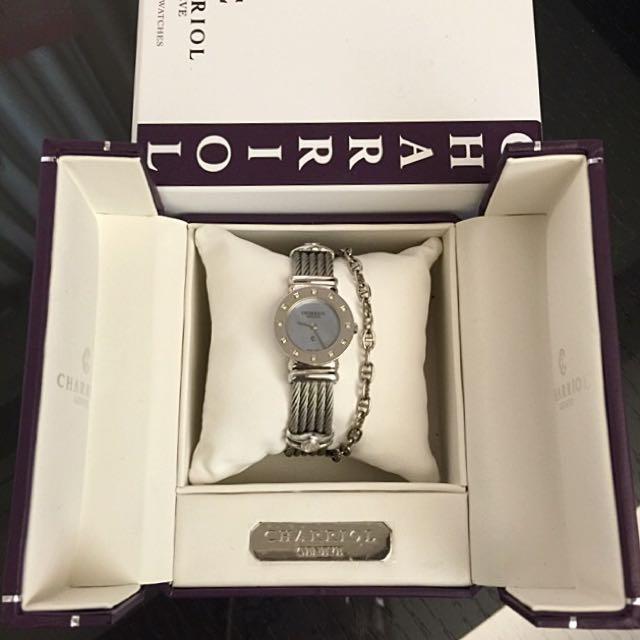 夏利豪CHARRIOL限量貝殼錶面鑲鑽女錶