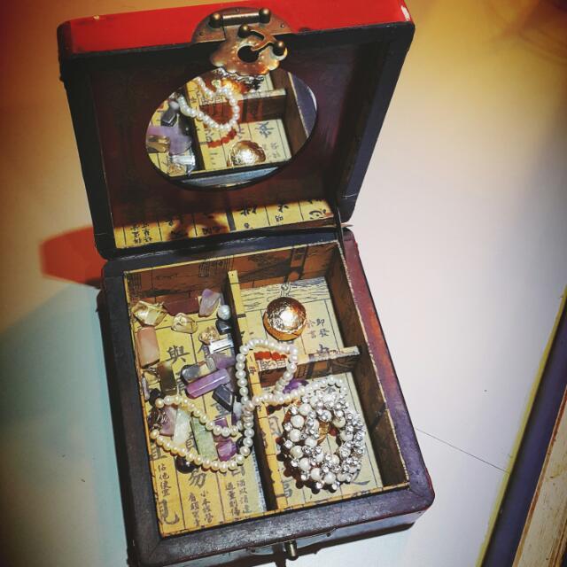 中式復古風附鏡子珠寶盒