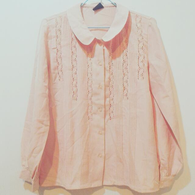 古著 透視雕花 襯衫 粉色