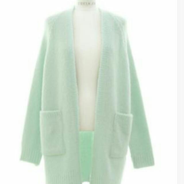 薄荷綠 毛外套 長袖 真口袋