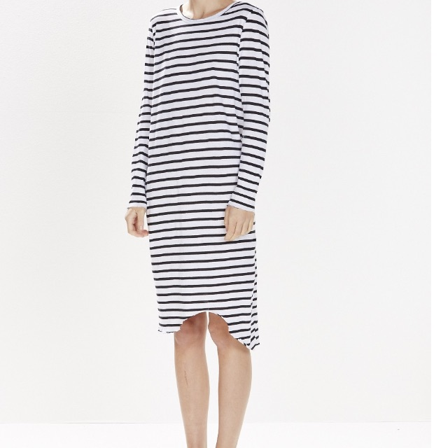 bassike stripe long sleeve dress