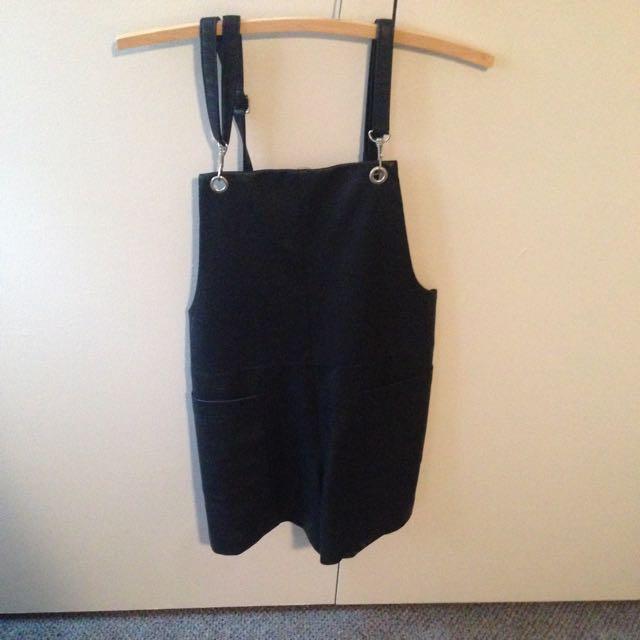 Black Leather Overalls Bardot