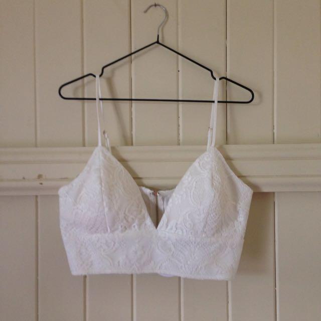 Dissh/Avery White Lace Crop Top