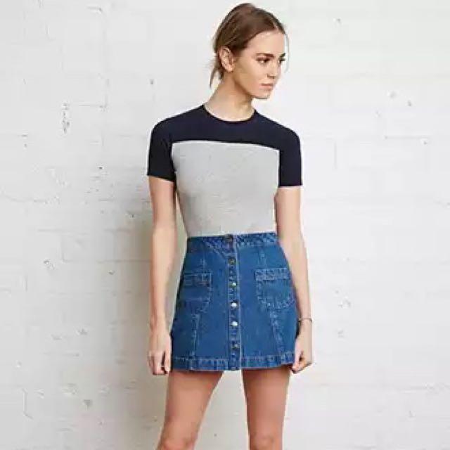 Forever 21 Denim Button Down Skirt