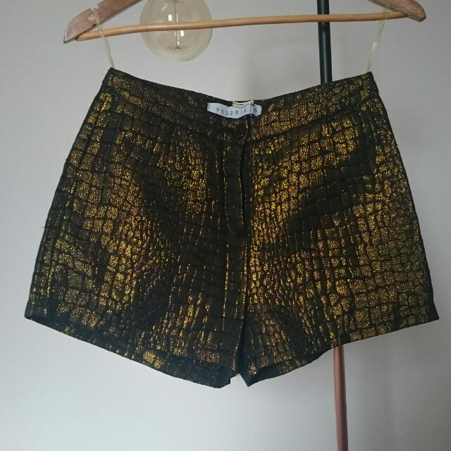 Gold And Black High Waisted Shorts