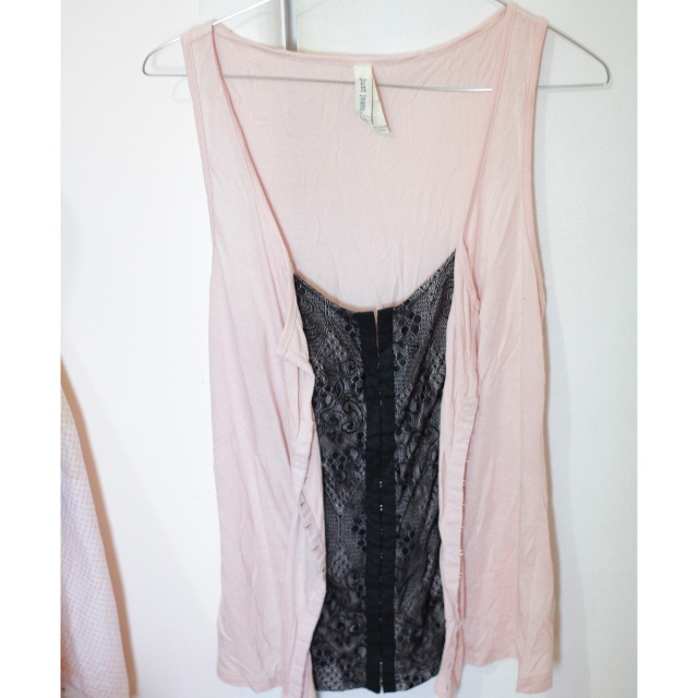 Just Jeans Pink & Black Lace Singlet