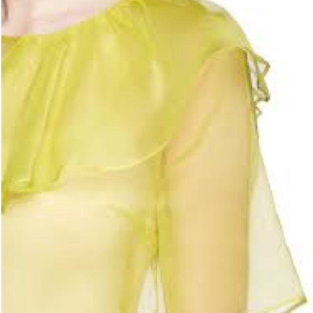 MSGM Yellow Side Bow Organza Top