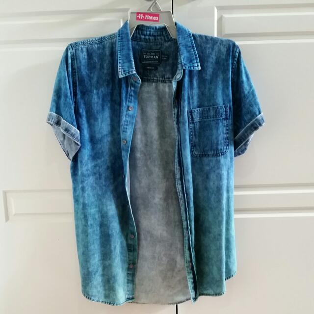 Topman Acid Wash Short Sleeve Shirt