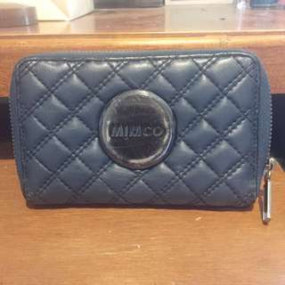 Mimco Blue Quilted Zip Around Wallet (Small)