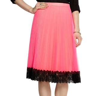 CHRISTOPHER KANE -Lace-trimmed neon tulle skirt