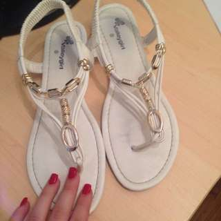White Valley Girl Sandals