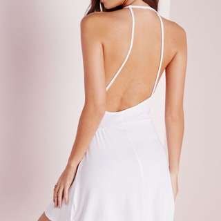 White High Neck Ribbed Skater Dress With Back Detail