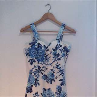 China Vase Patterned Body Con Dress