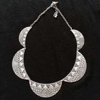 Silver Tribal Prints Necklace