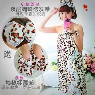 春秋季女性睡衣珊瑚絨睡裙
