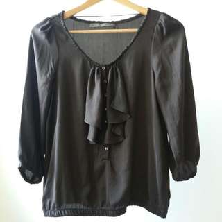ZARA Dark Brown Blouse Size Eur S
