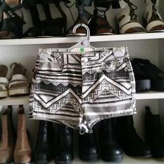 Topshop Tribal Denim Shorts