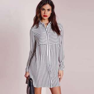 [PO H309] Striped Long Sleeve Boyfriend Shirt Dress