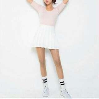 全新白色百摺裙S