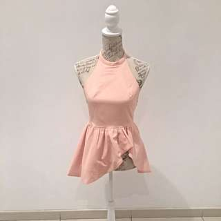 Peach Backless Peplum Top
