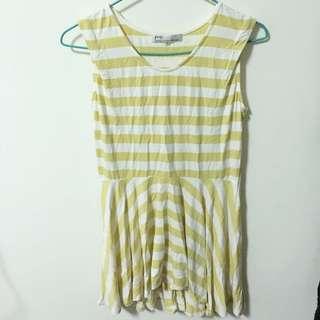 PAZZO鵝黃條紋洋裝