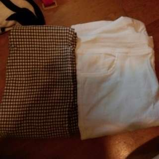白褲緊身褲 格子緊身褲