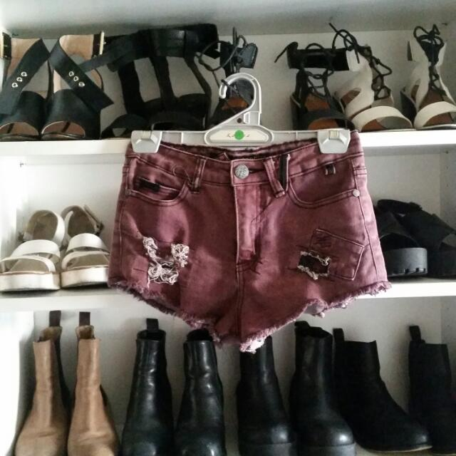 3 FOR $30 Supre Maroon Leopard Shorts