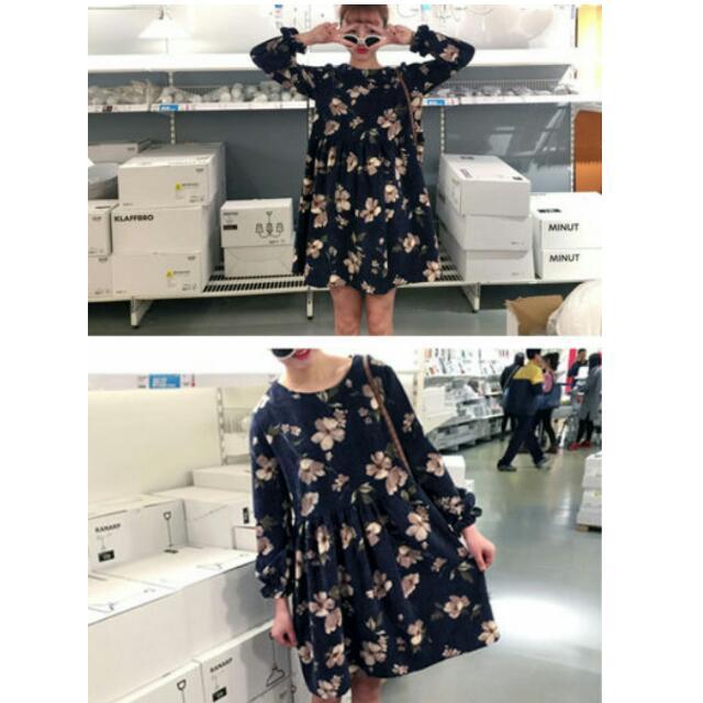 復古花絨洋裝
