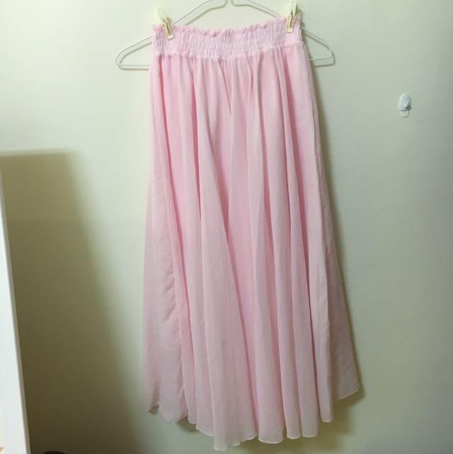 浪漫粉色透膚紗裙(全新)