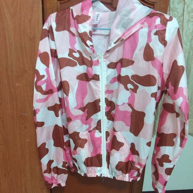 粉紅迷彩口袋防風防曬薄外套