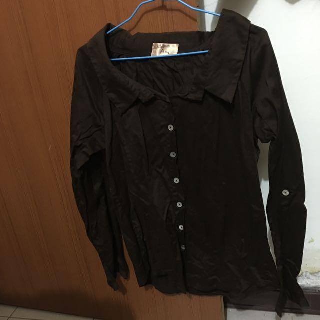❕❗️全新 韓版大領口長袖襯衫