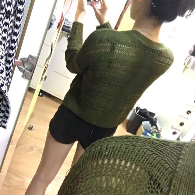 墨綠透毛線罩衫 外套 正韓