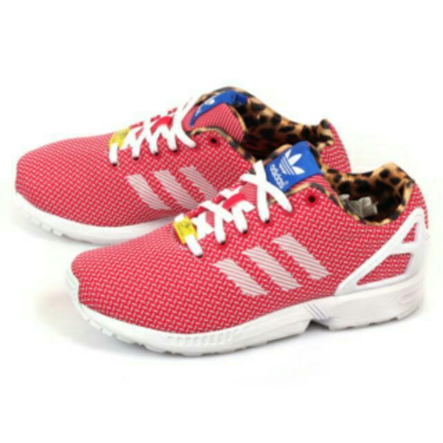 【adidas】ZX FLUX WEAVE W 輕盈復古休閒慢跑鞋-西瓜紅