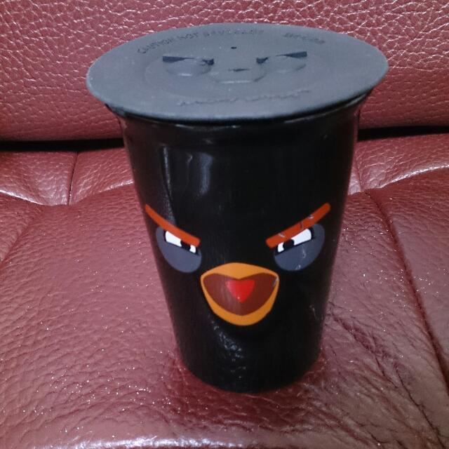 Angry Birds 憤怒鳥雙層陶瓷杯附蓋(黑)