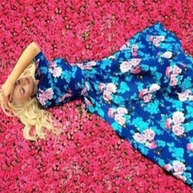 Blue Long Beach Dress Floral