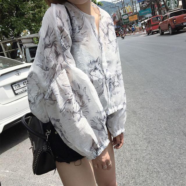 BS四月新品 韓版印花歐根紗外套92A3(30651)