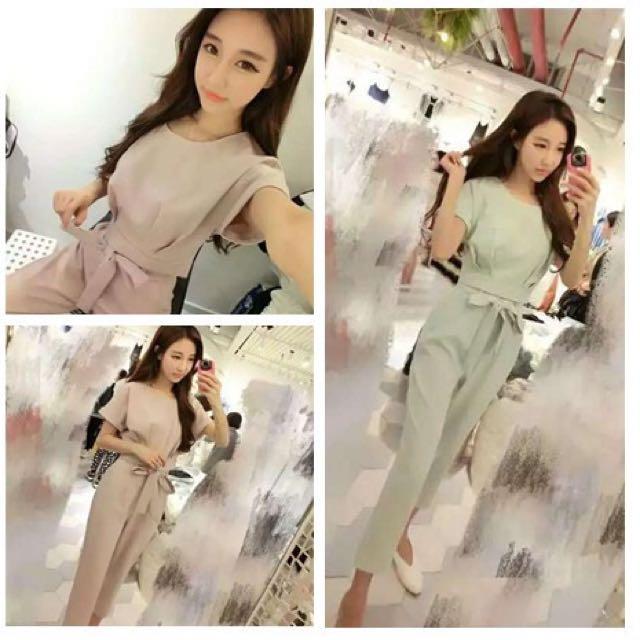 BS四月新品 韓版圓領上衣+系腰帶長褲兩件套裝92A4(30661)