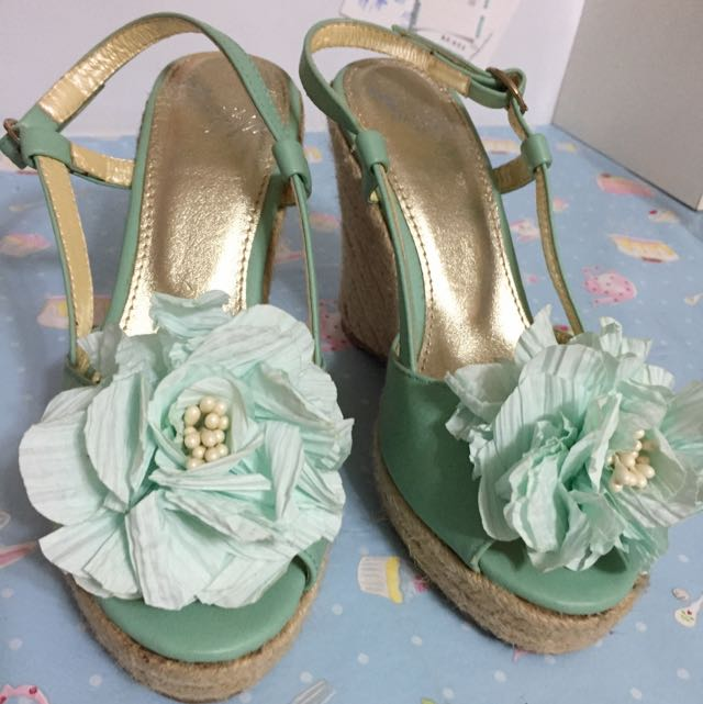 Grace Gift 夏日高跟涼鞋!馬卡龍綠!