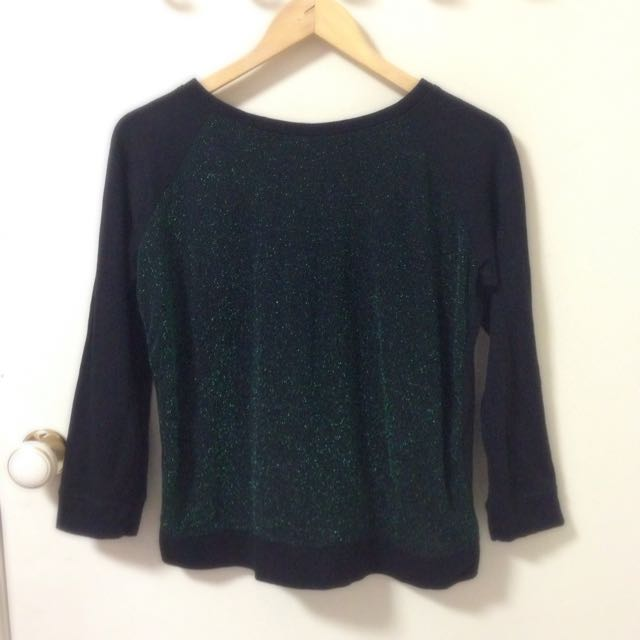 H&M Sparkle Green Sweater