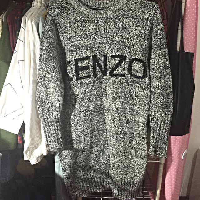 KENZO 字樣 長版毛衣 灰色