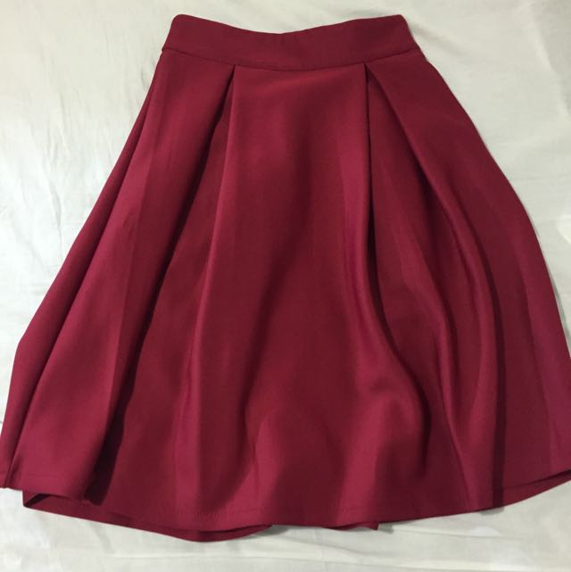 Midi Length Red Skirt