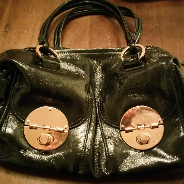 Mimco Turnlock Rose Gold & Patent Black Leather bag