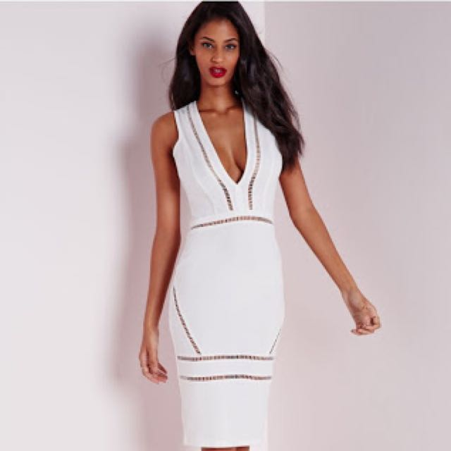 Missguided Plunge White Dress