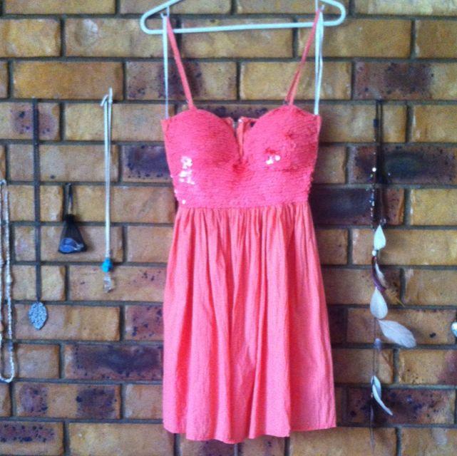 Orange Sequins Dress