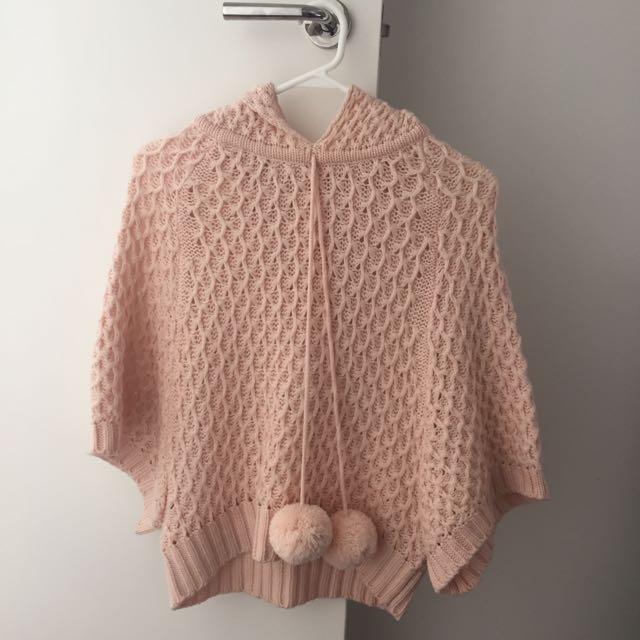 Pink Knitted & Hooded Sweater