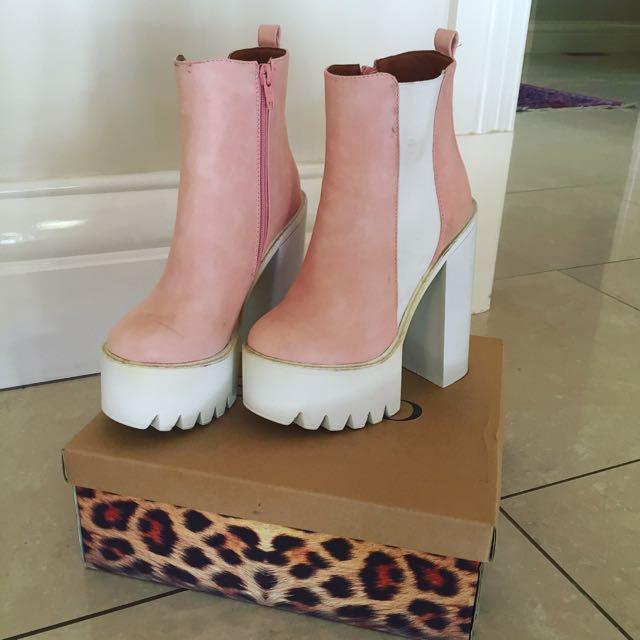 Pink Platform Boots