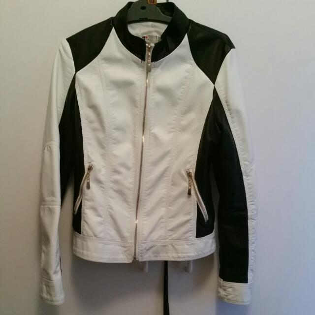 Womens Black And White Faux Leather Jacket Size 10