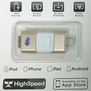 32GB三合一通用內存手指u盤FOR iphone/三星android/電腦windown